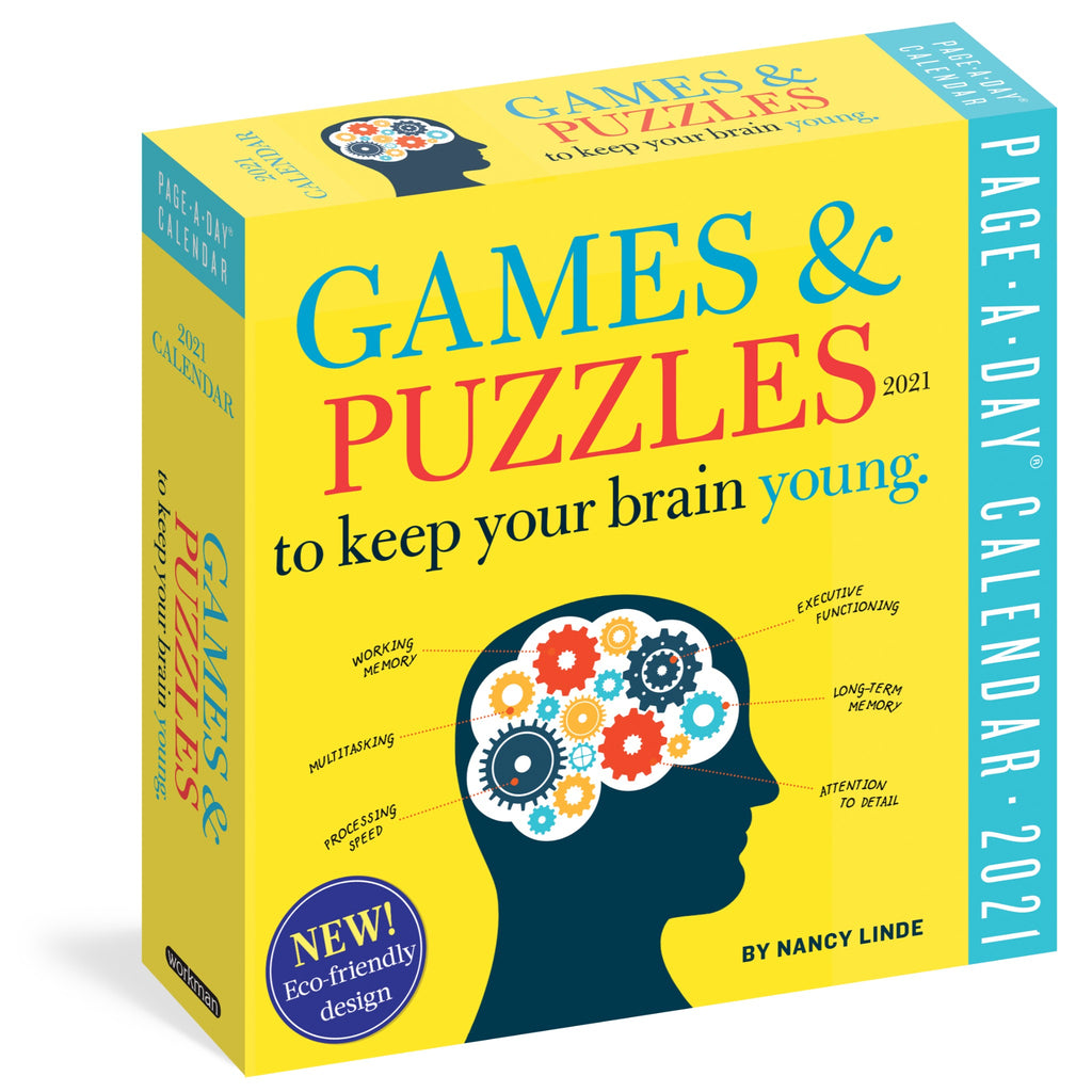 games and puzzles 2021 page a day calendar in yellow box with illustration of a head with machine gears in the brain