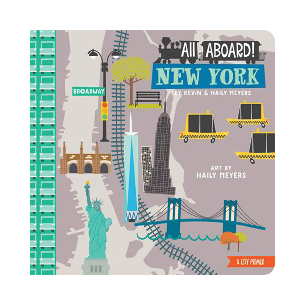 gibbs smith all aboard! new york city primer illustrated baby and toddler board book cover