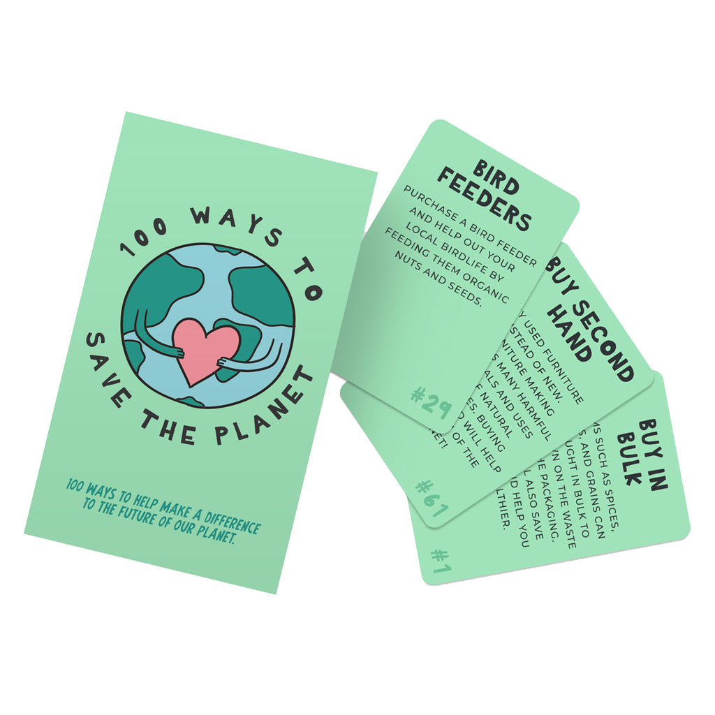 gift republic 100 ways to save the planet cards in light green box with illustration of the earth holding a heart