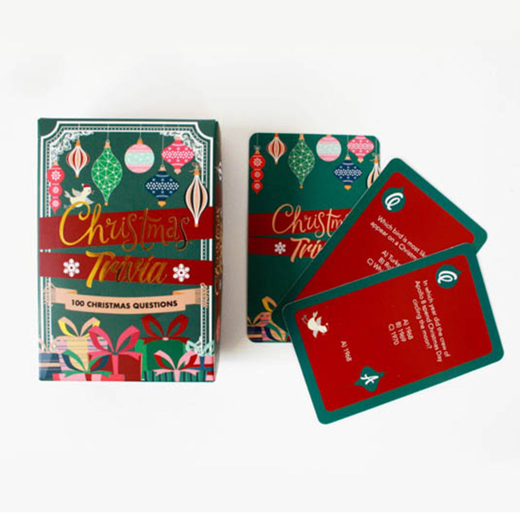 gift republic christmas trivia game box and sample cards with questions