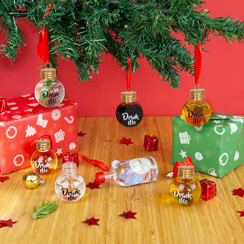 gift republic festive boozeballs set of 6 fillable christmas ornaments hanging on tree