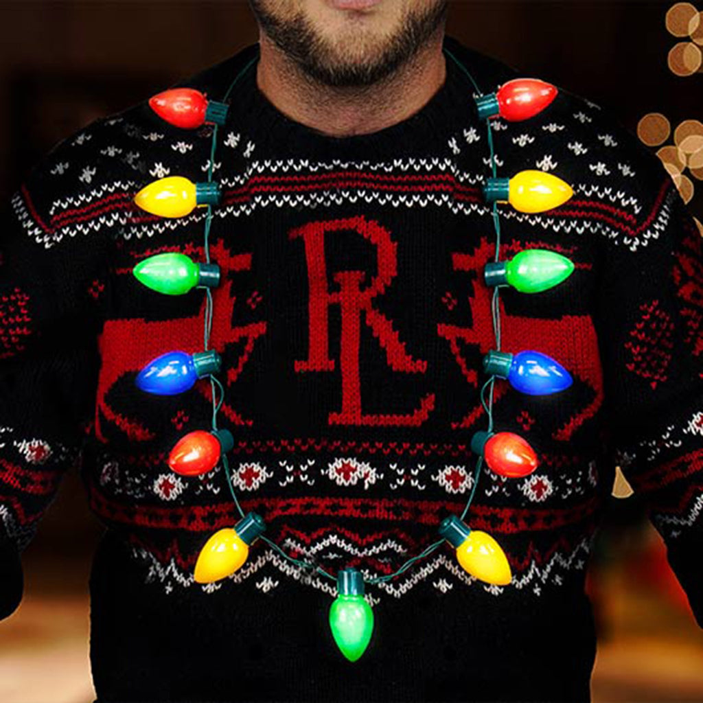 gift republic festive flashing light up christmas bulb necklace on man