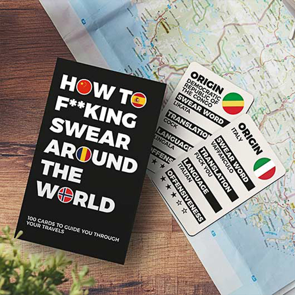 gift republic how to swear around the world travel cards sample card with map and packaging