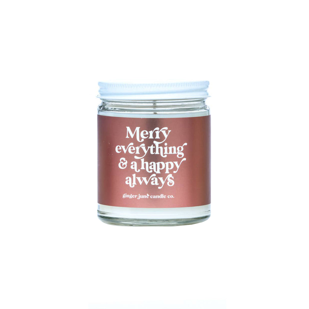 ginger june 9 ounce merry everything and a happy always frasier fir scented holiday soy wax candle