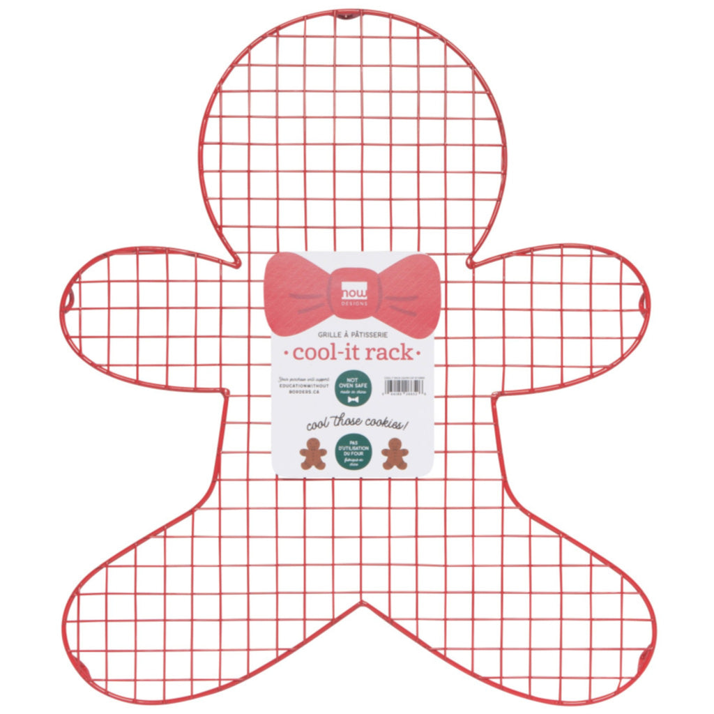red gingerbread man shaped cooling rack