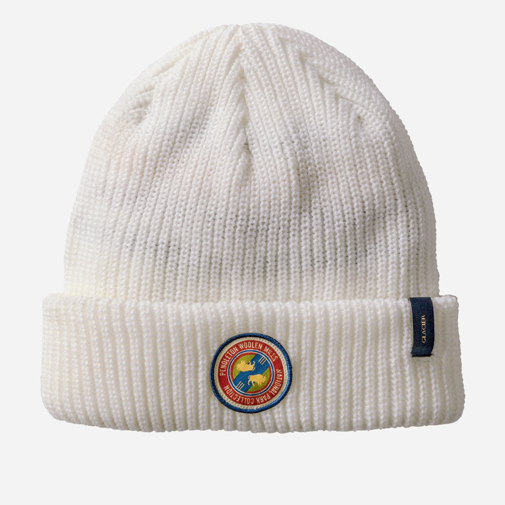 solid white beanie with pendleton woolen mills patch in red, blue, and yellow