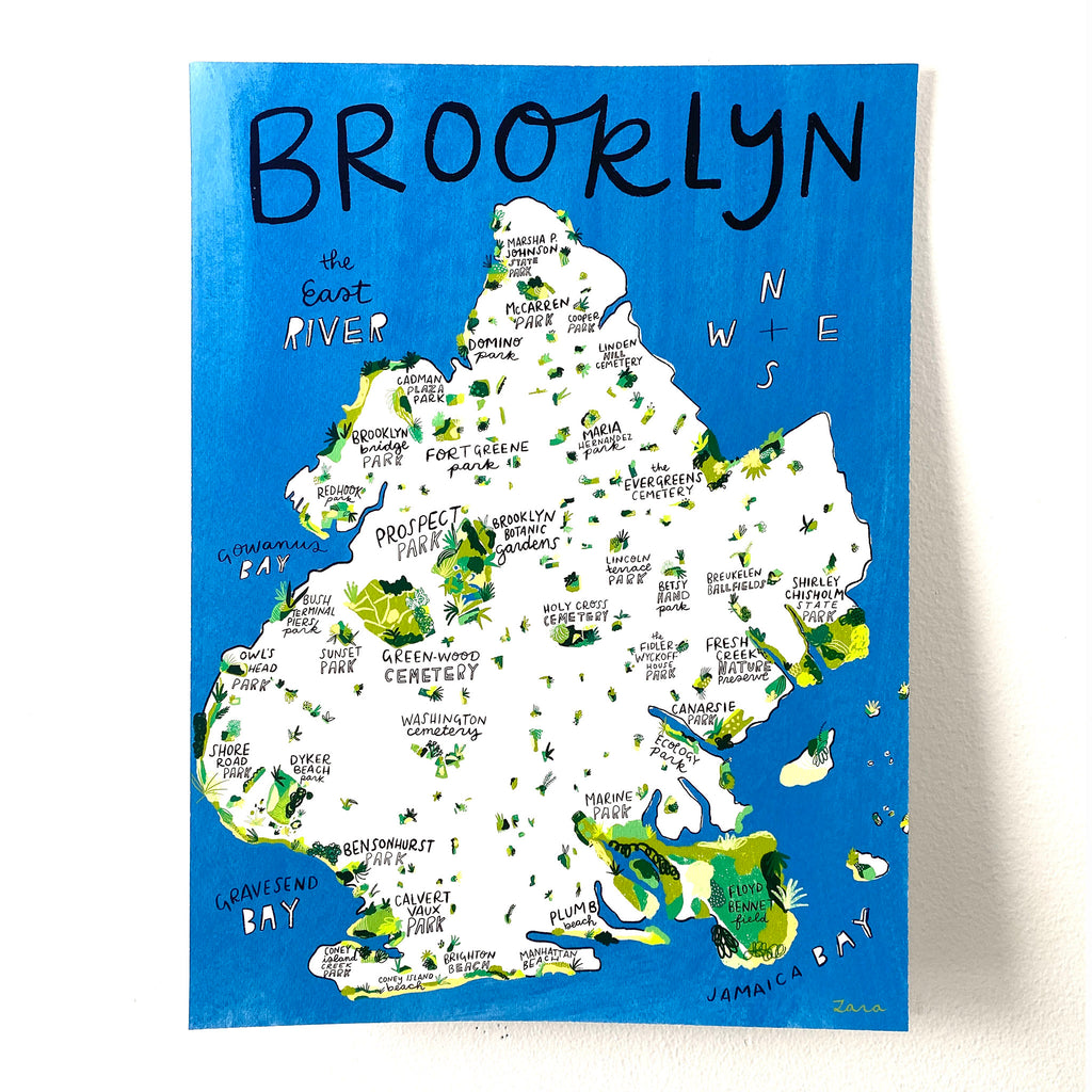 good for the bees brooklyn green spaces print illustrated map of brooklyn highlighting green spaces and parks