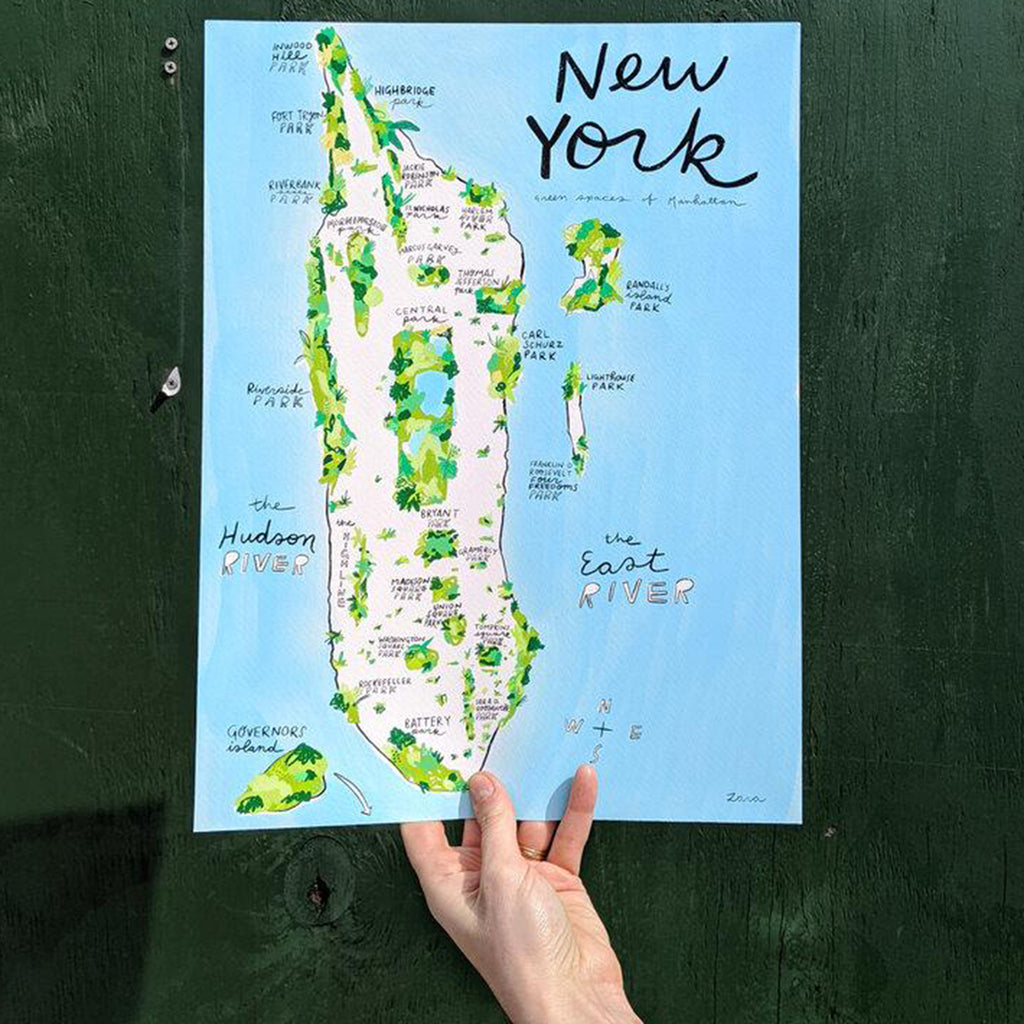good for the bees nyc green spaces print illustrated map of manhattan highlighting green spaces