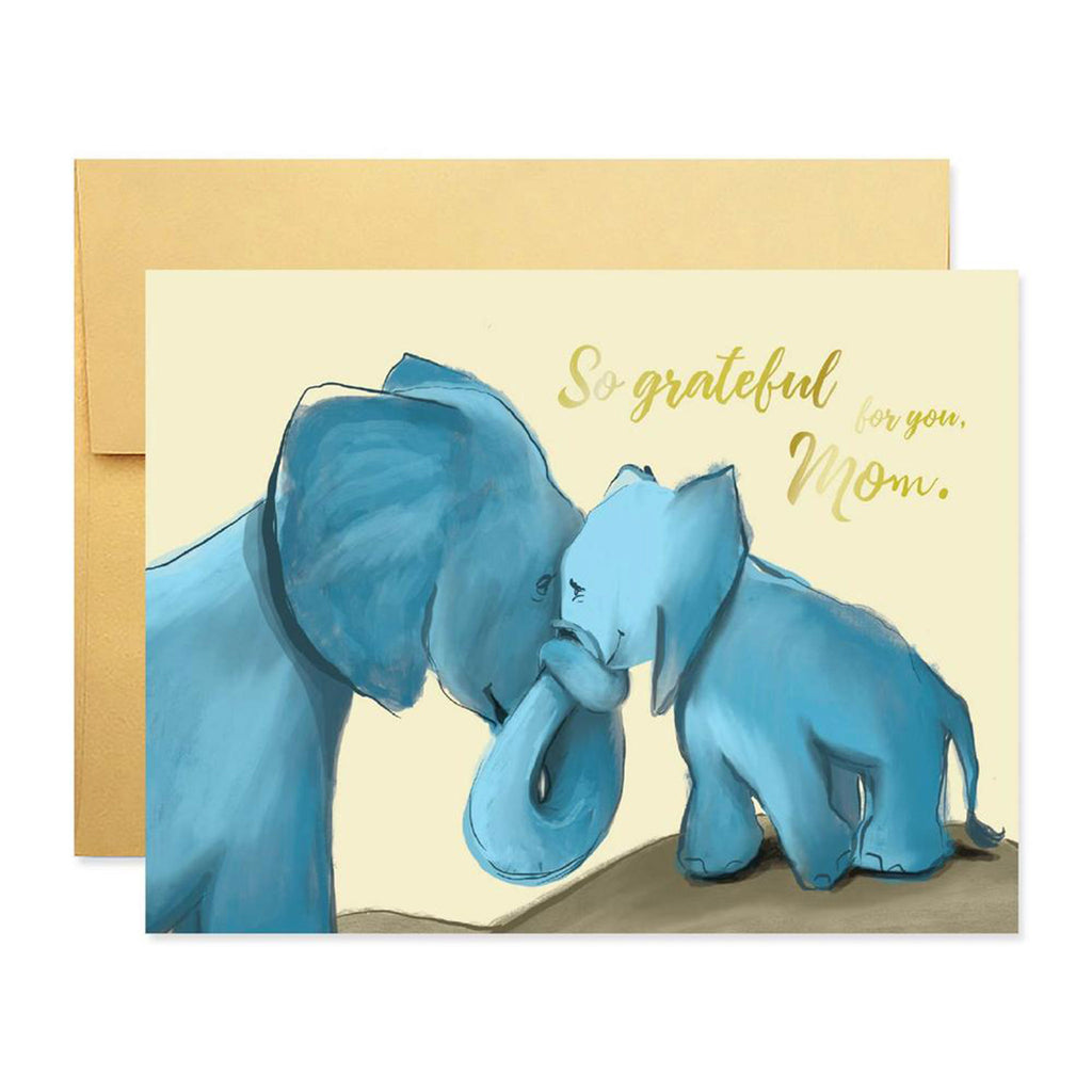 good juju ink so grateful for you mom elephant with baby happy mothers day greeting card with envelope