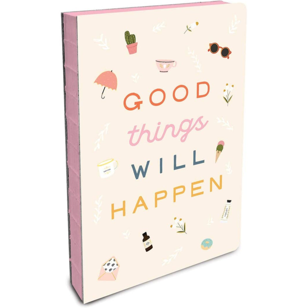 "off white coptic bound journal with the words ""good things will happen"" and illustrations in multiple colors with pink page edges"