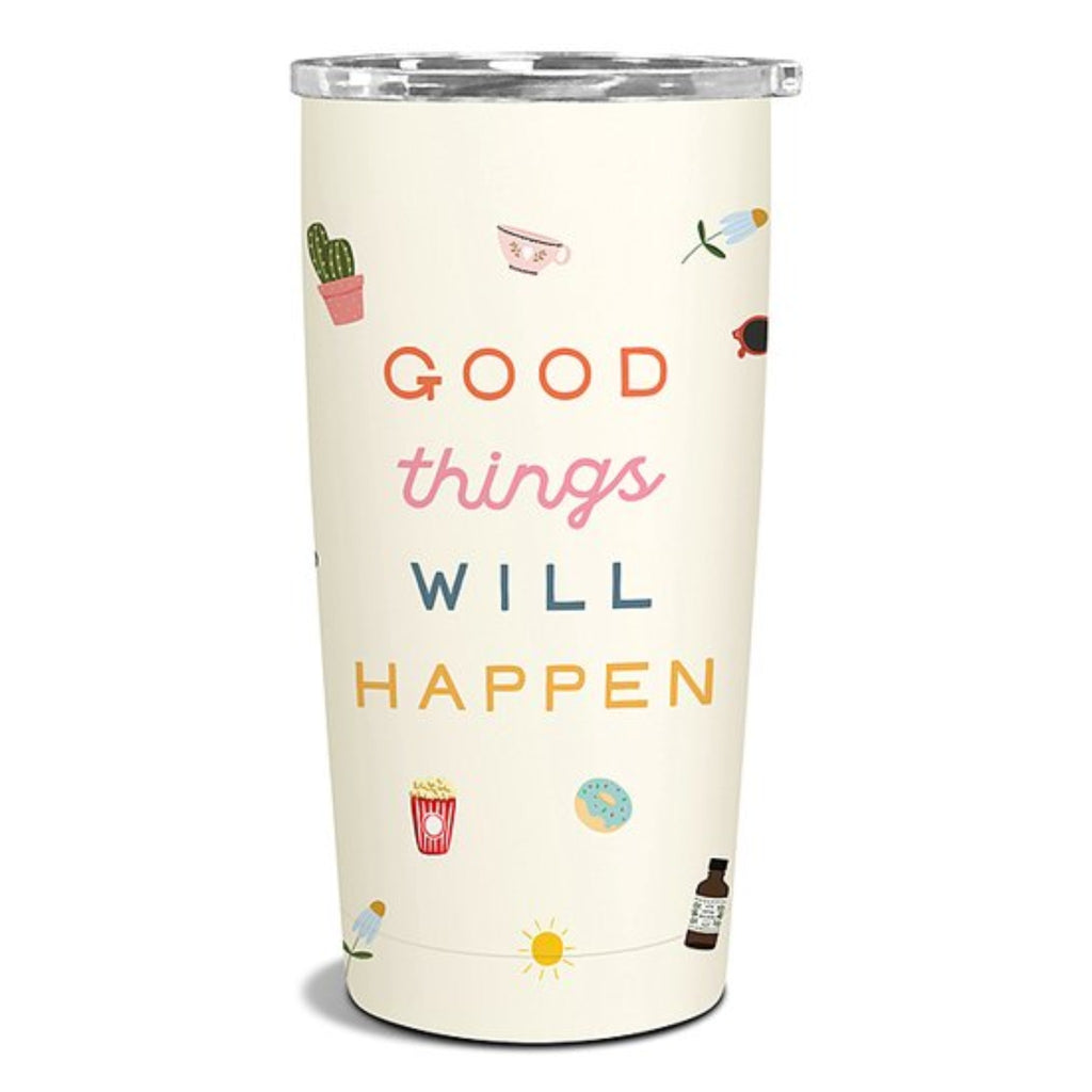 "insulated stainless steel travel tumbler in off white with multicolor illustration of food and plants with the words ""good things will happen"""