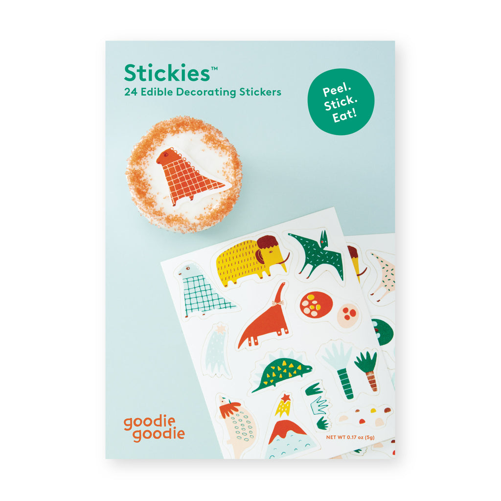 goodie goodie stickies prehistoric pals dinosaurs edible decorating stickers sheet for cupcake and cake toppers packaging front