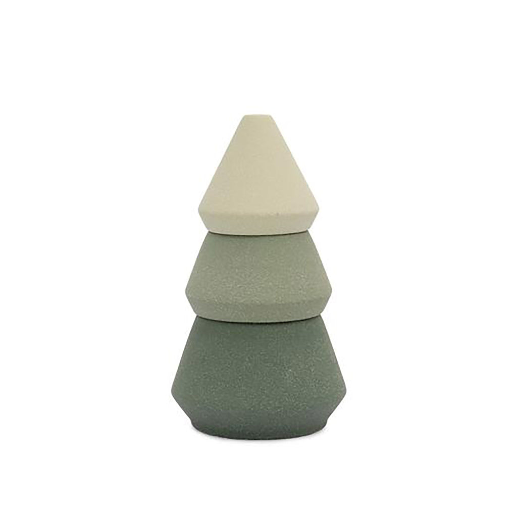 ombre green three piece ceramic candle and incense burner kit in the shape of a tree