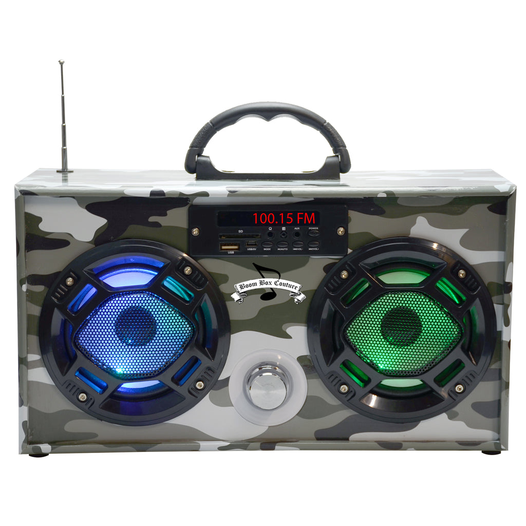 mini green camouflage boom box radio with bluetooth