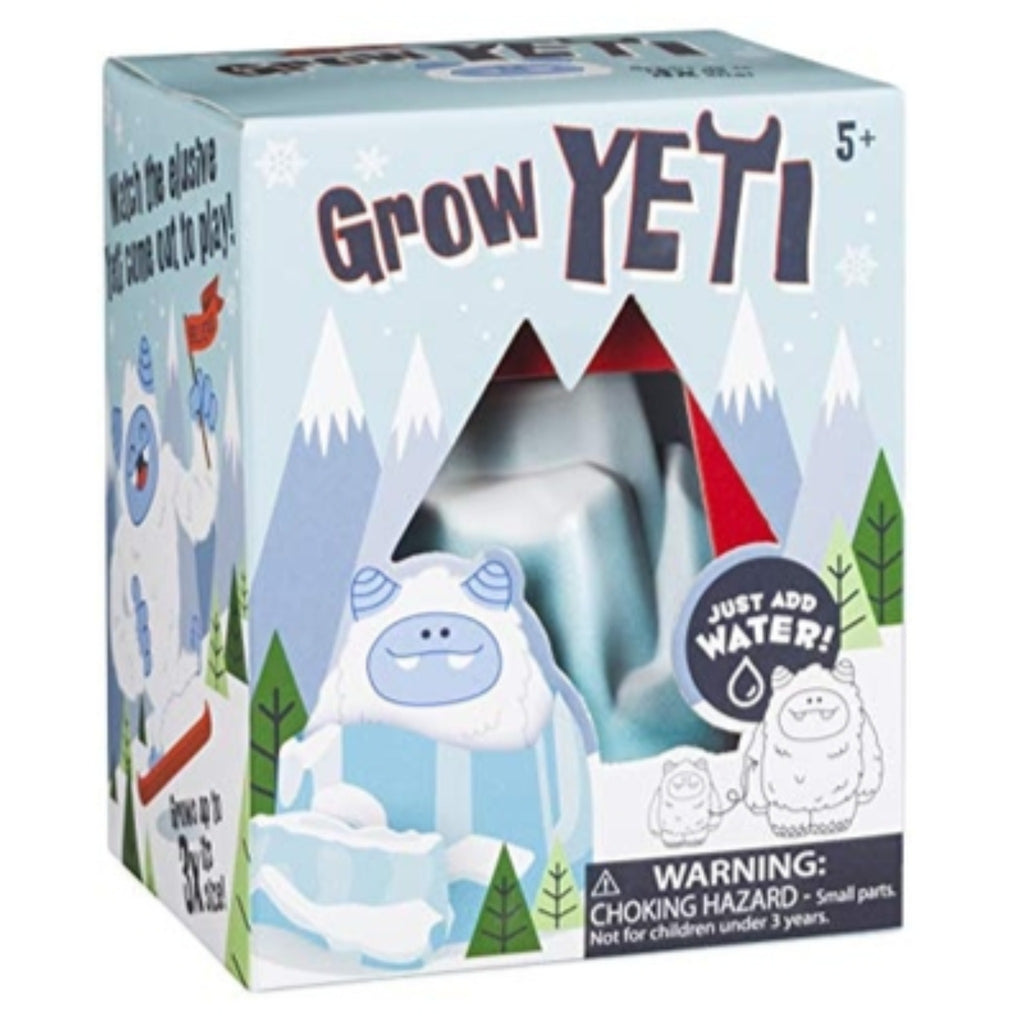 growing yeti kit in box illustrated with snow-capped mountains and yetis