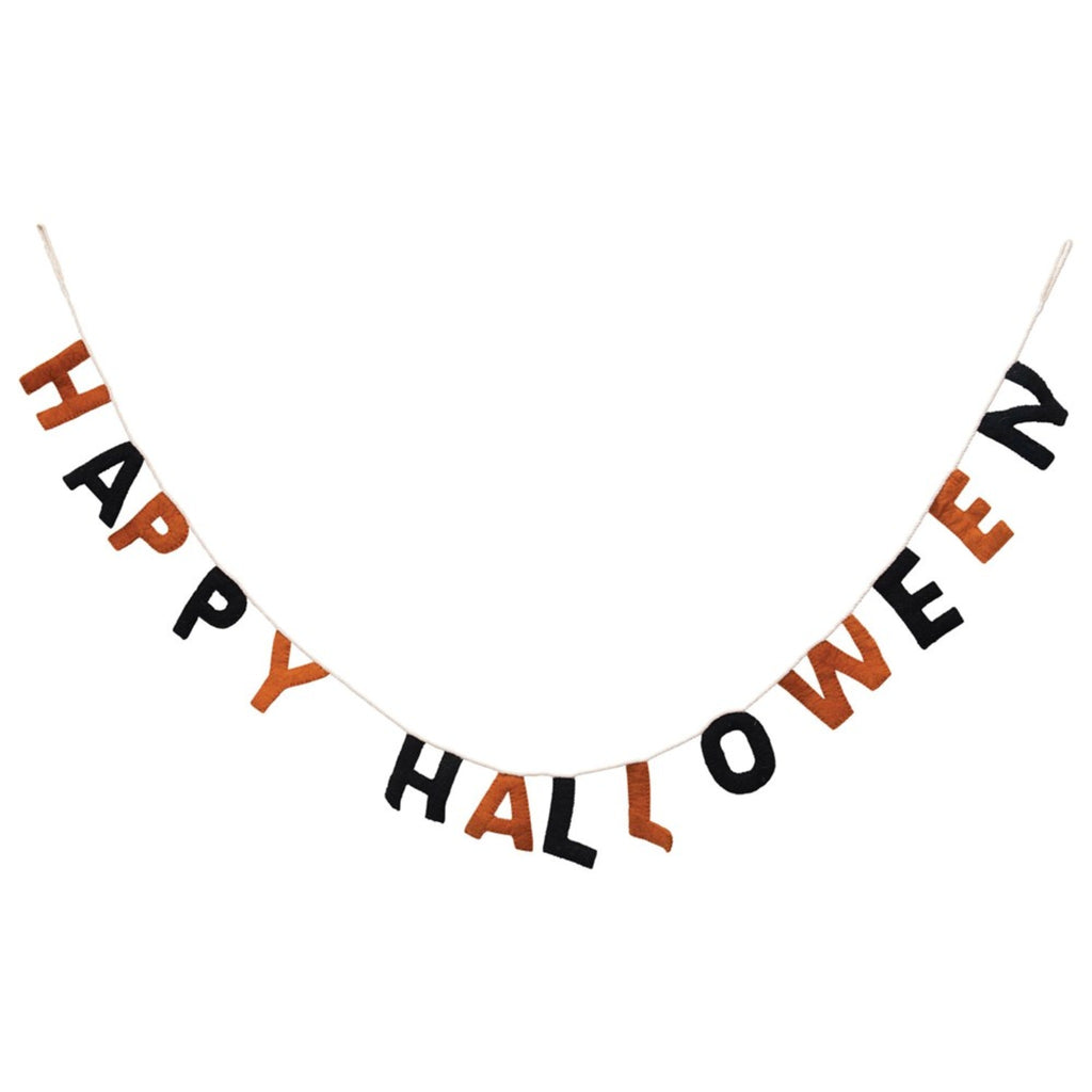 happy halloween banner in orange and black felt letters