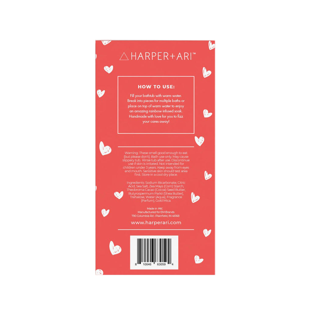 harper + ari love you champagne fizz scented bath bomb bar greeting card packaging back