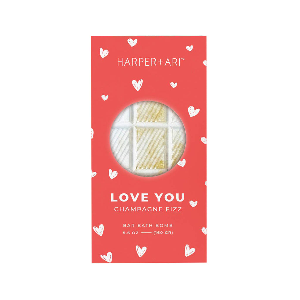 harper + ari love you champagne fizz scented bath bomb bar greeting card packaging front