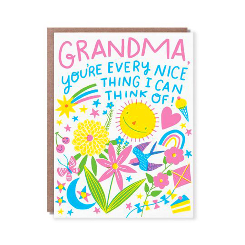 hello!lucky grandma you're every nice thing I can think of happy mothers day greeting card with envelope