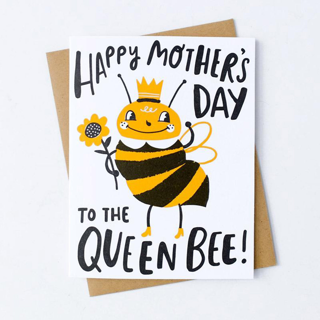 hello!lucky happy mothers day to the queen bee greeting card with envelope
