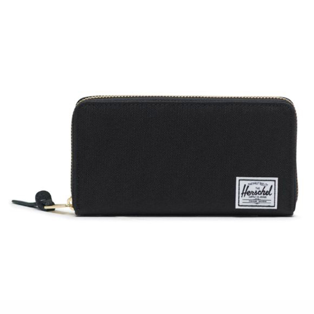 herschel thomas black poly fabric classic wallet with zipper closure front