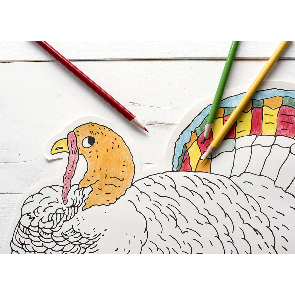 thanksgiving die-cut coloring turkey paper placemat detail with colored pencils