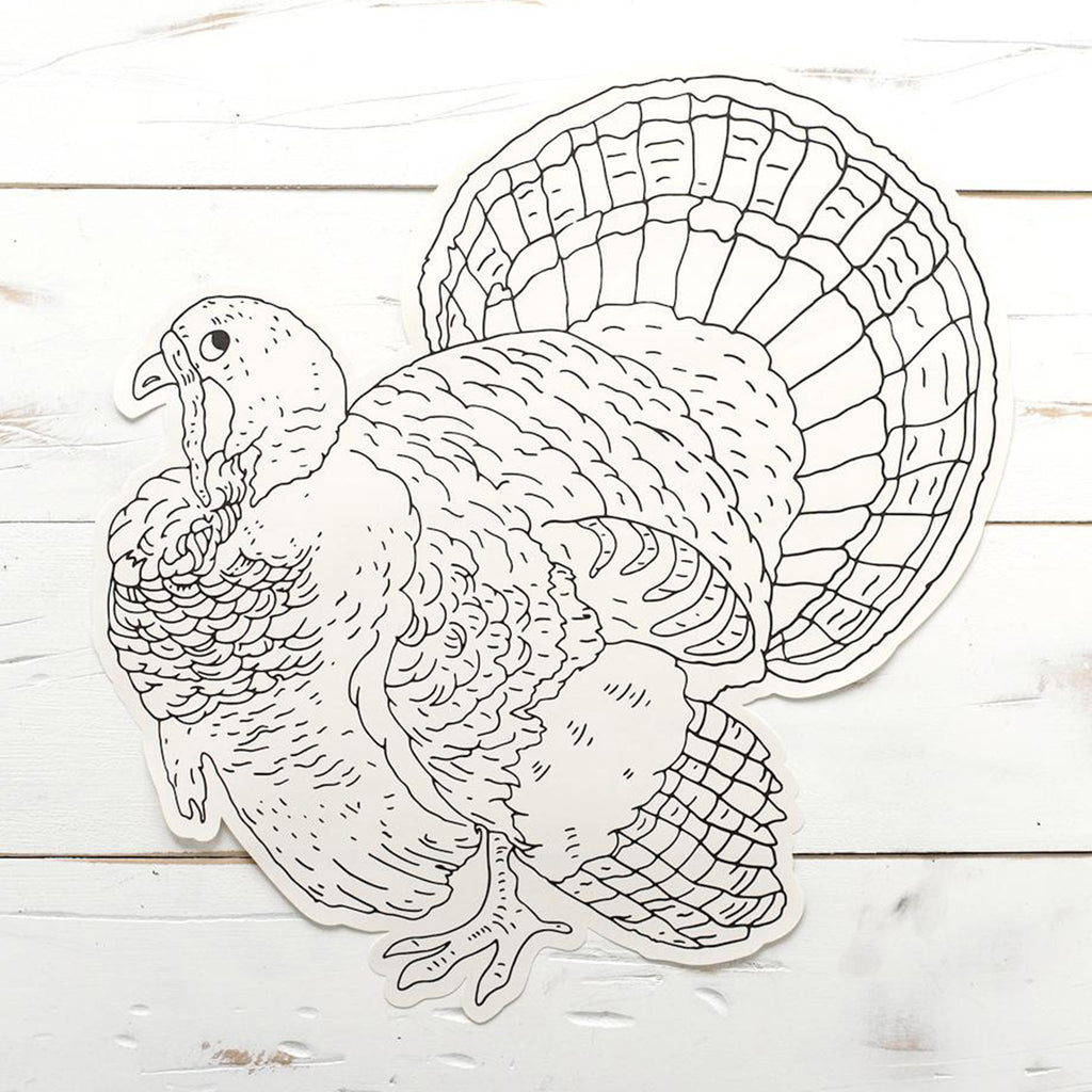 thanksgiving die-cut coloring turkey paper placemat single