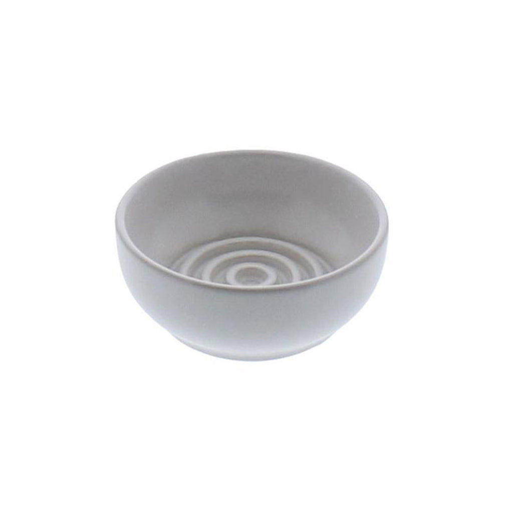 homart matte white round ceramic soap dish with raised rings