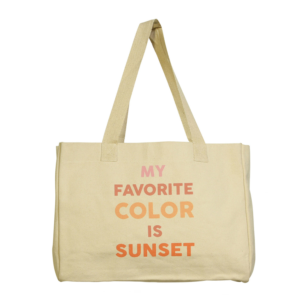 homart my favorite color is sunset canvas tote bag front