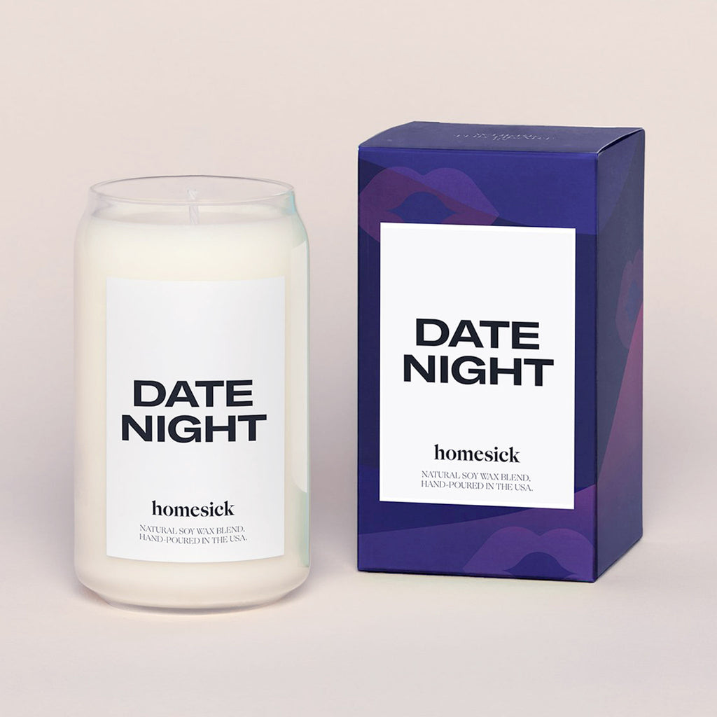 homesick date night scented natural soy wax blend candle with box