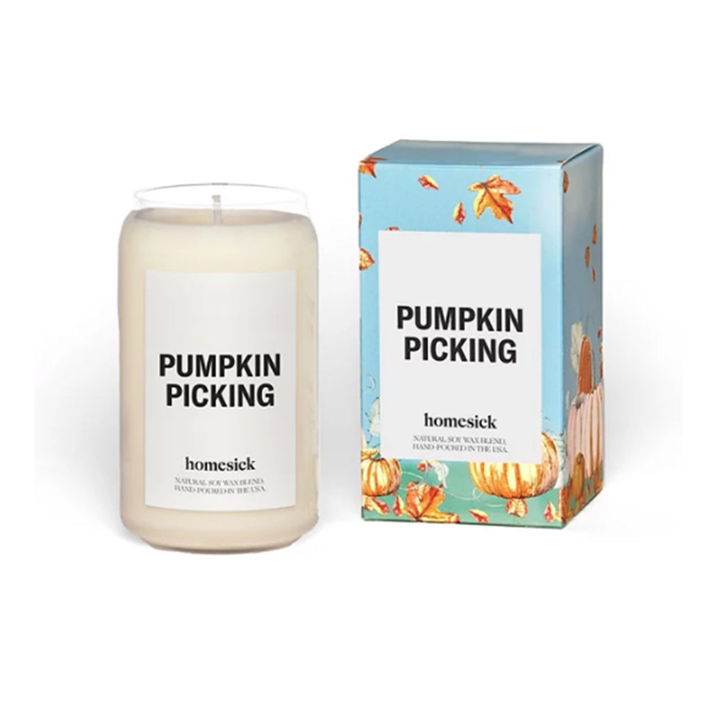 homesick pumpkin picking scented natural soy wax blend candle with box