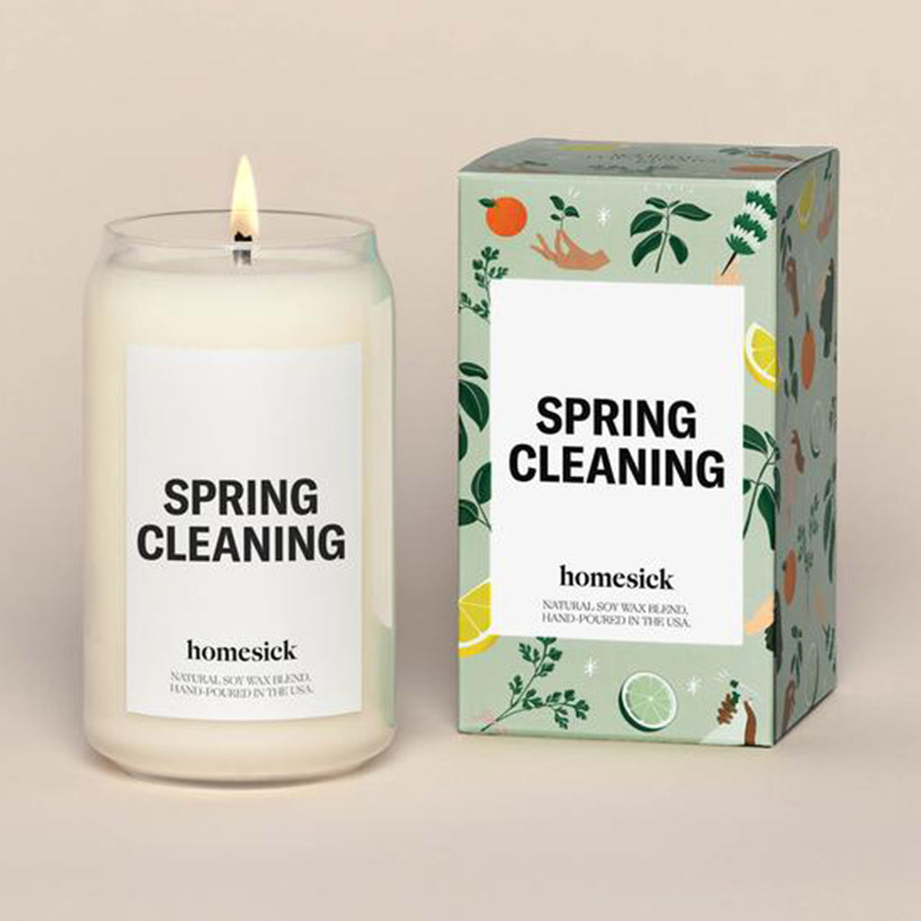 homesick spring cleaning scented natural soy wax blend candle with box