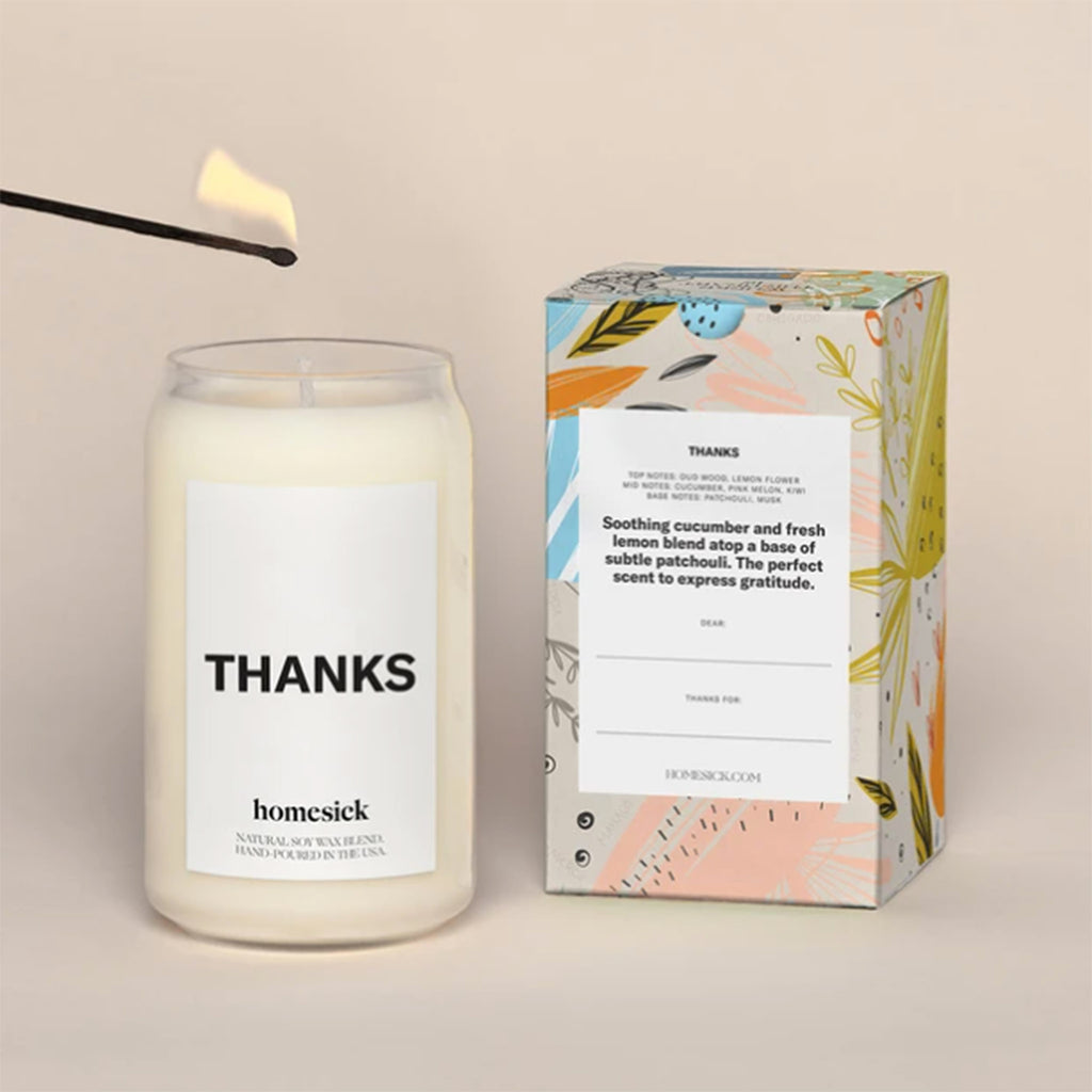 homesick thanks cucumber and lemon scented natural soy wax blend candle with box back