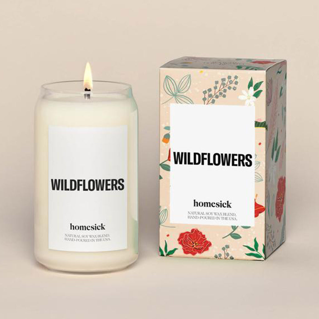 homesick wildflowers scented natural soy wax blend candle with box