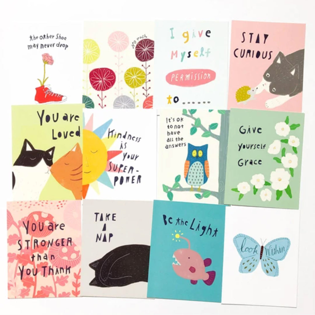 honeyberry studios kindness illustrated postcard assortment set