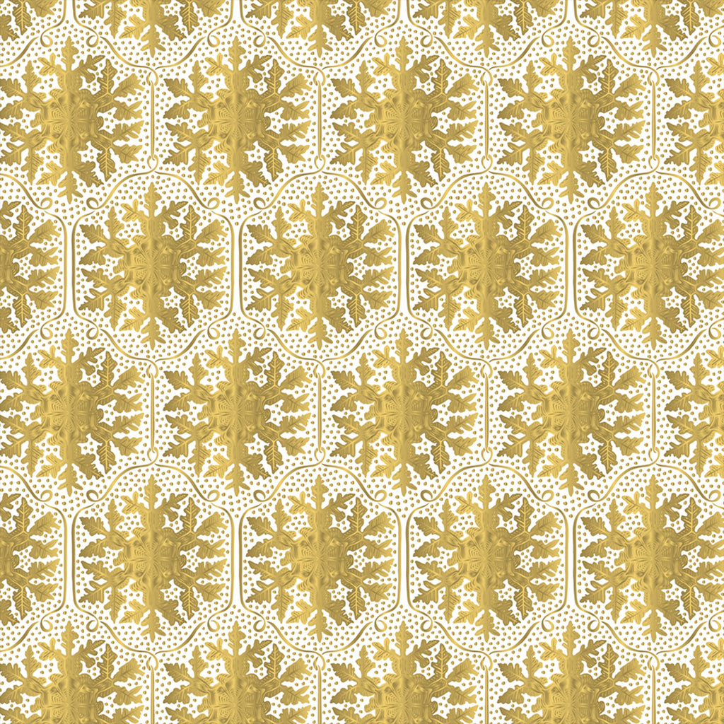 white kraft wrapping paper with metallic gold honeycomb snowflake pattern