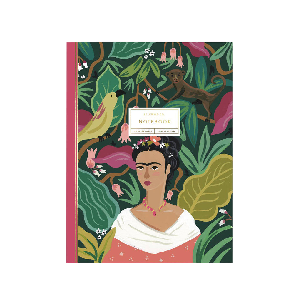 idlewild frida kahlo perfect bound notebook with lined pages cover