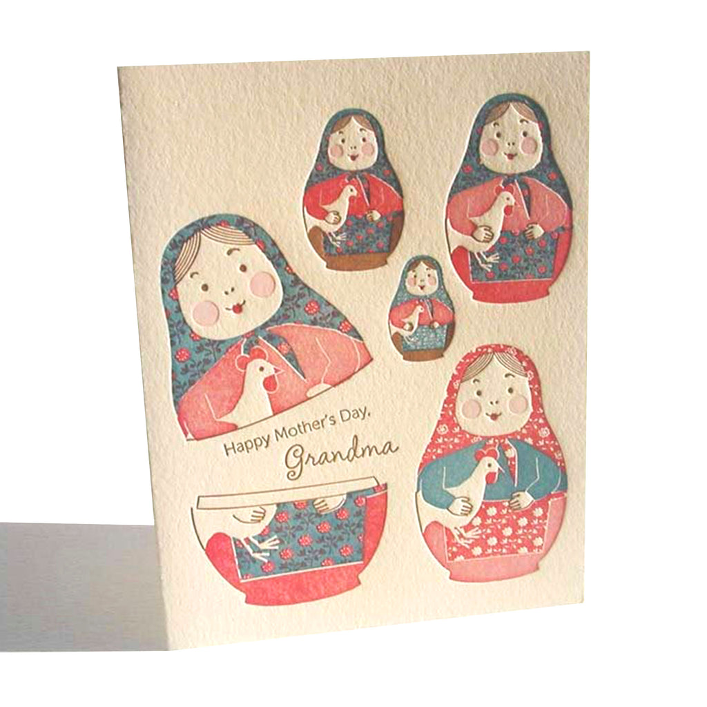 ilee paper goods grandma nesting dolls happy mother's day greeting card