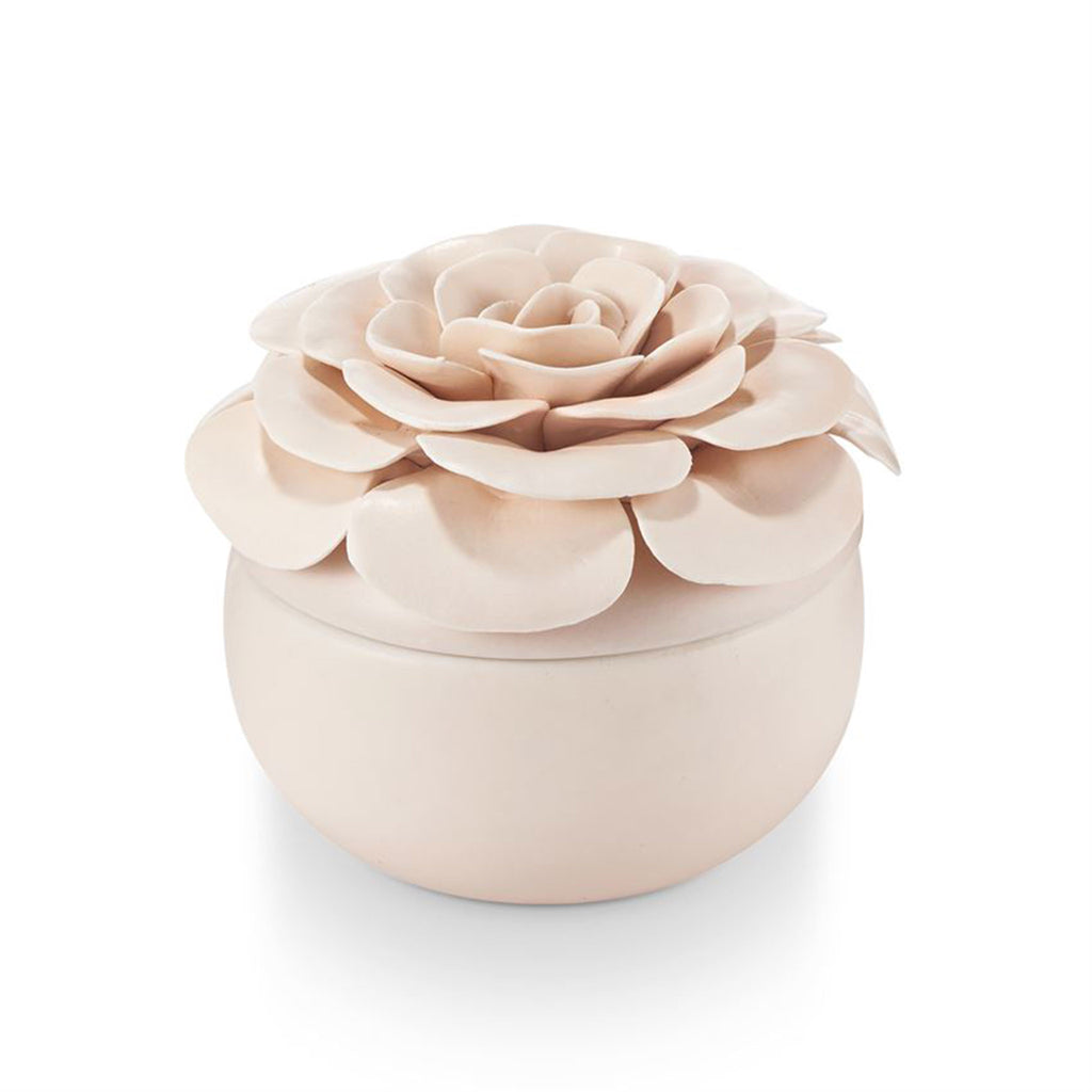 illume coconut milk mango scented pink ceramic flower candle with lid