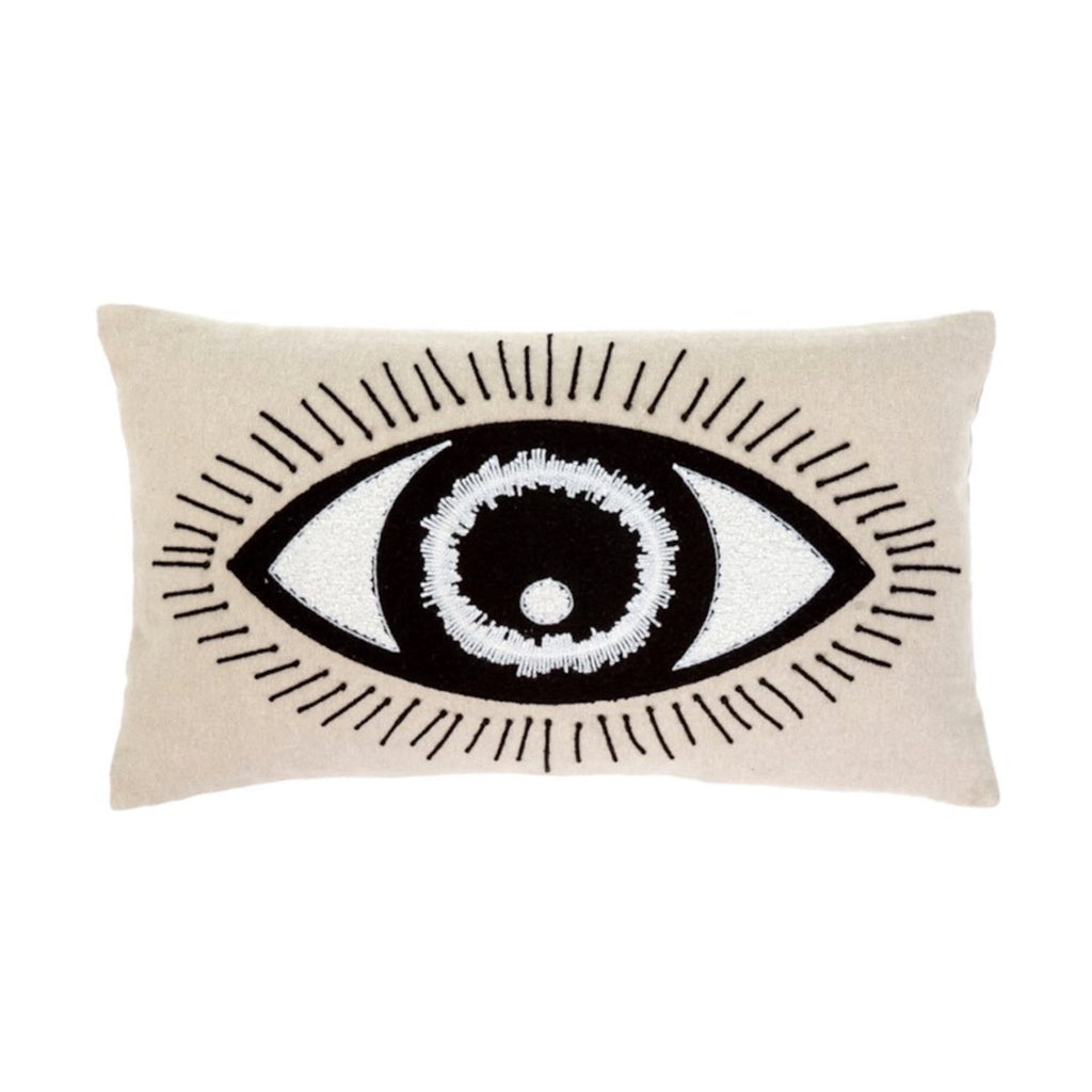 indaba bright eyed pillow ivory with large black and white eye on front