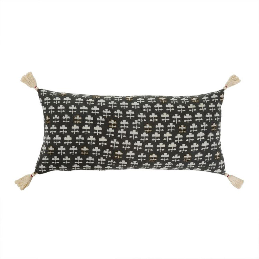indaba thali decorative reversible pillow cushion with tassels black and white side
