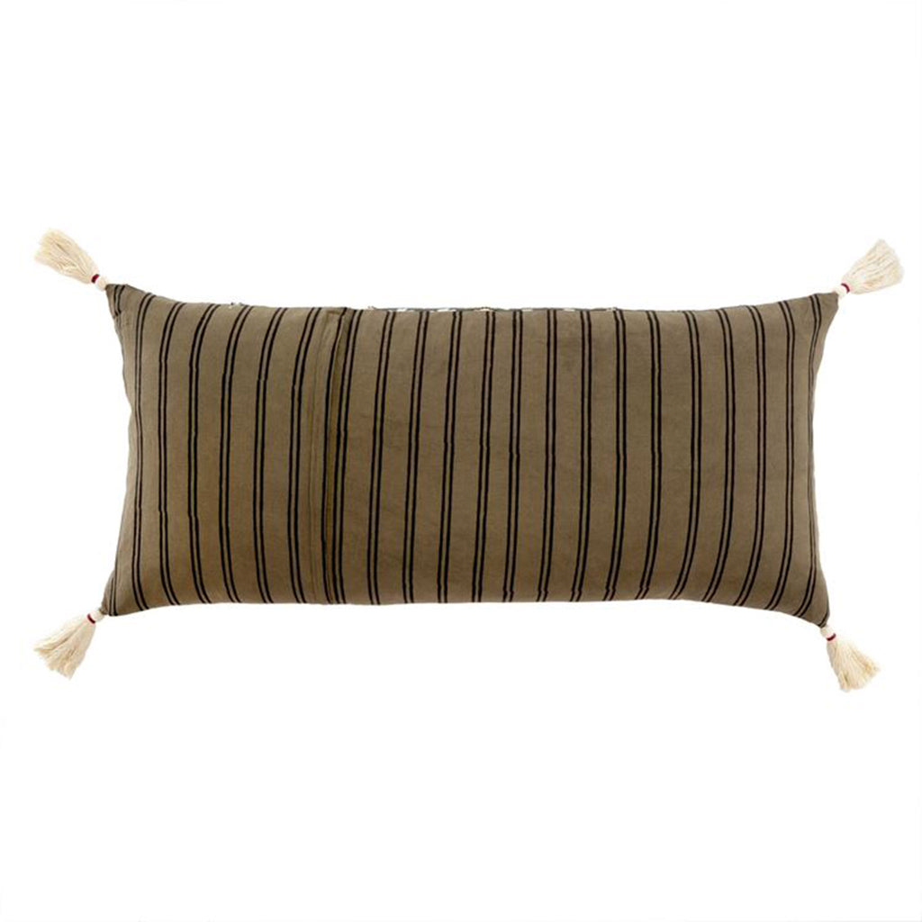 indaba thali decorative reversible pillow cushion with tassels dark taupe with black stripes side