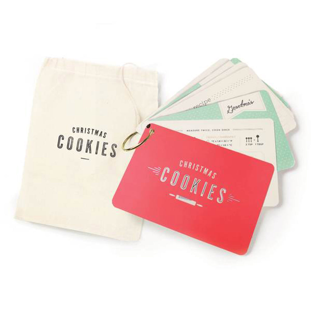 inklings paperie christmas cookie recipe card ring with drawstring bag