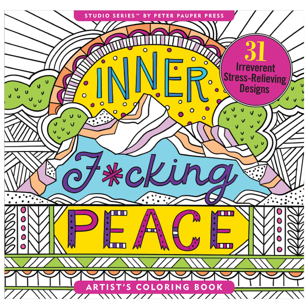 inner fucking peace coloring book cover with landscape illustration partially colored