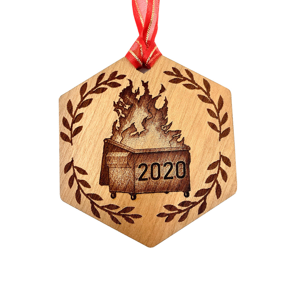 insert brand here shop 2020 dumpster fire cherry wood christmas holiday tree ornament