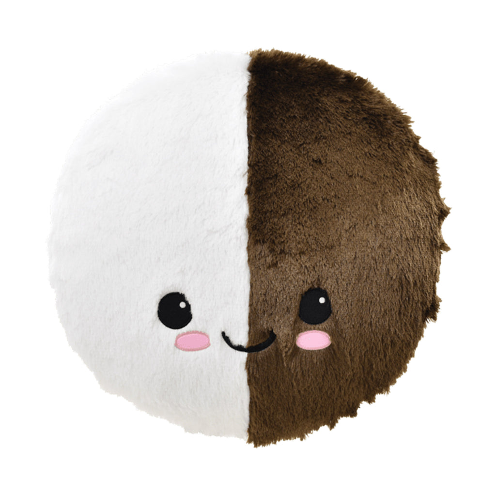 iscream furry black and white cookie decorative kids pillow front