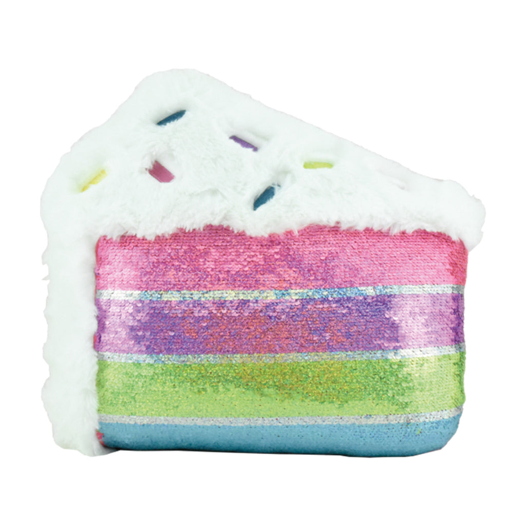iscream furry slice of cake reversible sequin decorative kids pillow swipe down