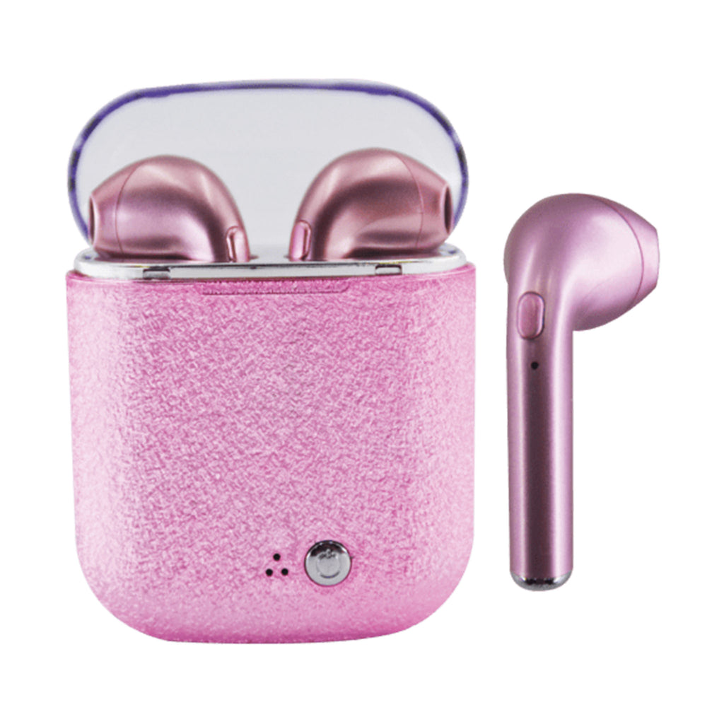 iscream pink glitter wireless earbuds in case