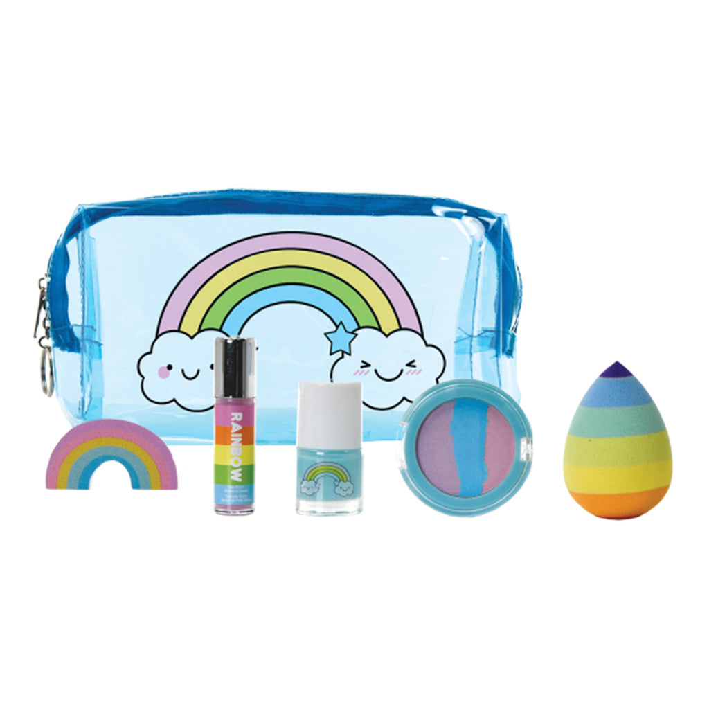 iscream rainbow beauty five piece set blue transparent pouch with contents