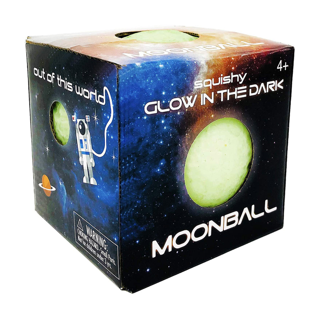 island genius glow in the dark squishy moon stress ball in packaging